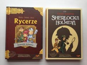 """""""Cztery Śledztwa Sherlocka Holmesa"""" i """"Rycerze. Dziennik bohatera"""" to komiksy paragrafowe od FoxGames (fot. Ewelina Zielińska/SilesiaDzieci.pl)"""