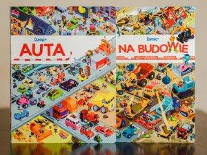 """""""Auta"""" i """"Na budowie"""" to kolorowe picturebooki wydane przez Babarybę (fot. Ewelina Zielińska)"""