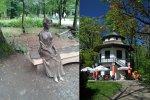 Rzeźba Alicji Habsburg zaprasza do zwiedzania Parku Miniatur. W Domku Chińskim znajduje się kawiarnia (fot. wikipedia)