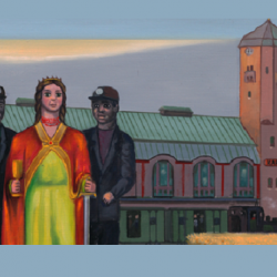 """Fragment obrazu: """"Jest taki dzień"""", Erwin Sówka, 2008, olej, płótno, wł. Muzeum Śląskiego w Katowicach (fot. FB Muzeum Śląskie)"""
