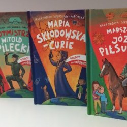 """Seria """"Polscy superbohaterowie"""" wydawnictwa RM to, przygotowane z myślą o dzieciach, biografie znanych Polaków (fot. mat. SilesiaDzieci.pl)"""