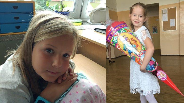 Po lewej zamyślona pierwszoklasistka - córka p. Patrycji, po prawej Ola Piętocha z Tychów (fot. archiwum zdjęć czytelników)