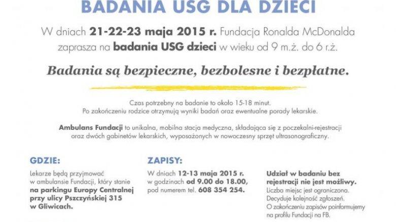 Na bezpłatne badania usg, które odbędą się w dniach 21-23 maja należy wcześniej zapisać pociechę (fot. mat. Europy Centralnej)