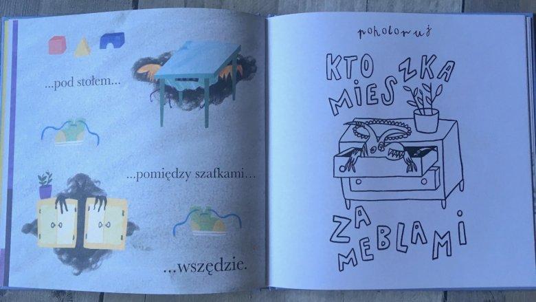 """""""Kto mieszka za meblami"""" to świetnie dopracowany projekt i książka, po którą naprawdę warto sięgnąć (fot. mat. Ewelina Zielińska /SilesiaDzieci.pl)"""