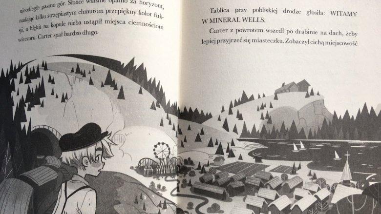 """Ilustracje w książce pt. """"Magicy"""" przypominają amerykańskie animacje (fot. Ewelina Zielińska/SilesiaDzieci.pl)"""