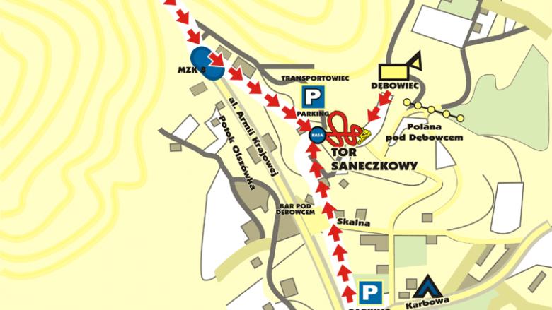 Mapka dojazdu (www.torsaneczkowy.bielsko.pl)