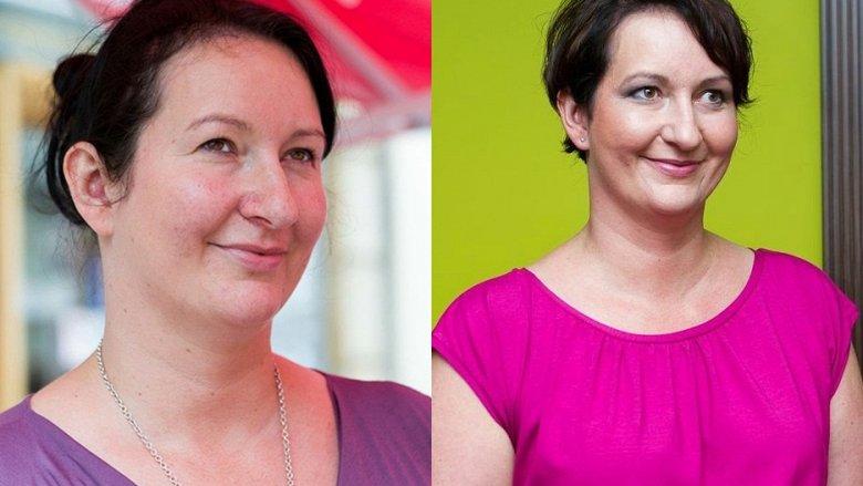 Odpowiednia fryzura i makijaż czynią cuda. Na zdjęciu ochotniczka Kasia - przed i po metamorfozie (fot. Bożena Seweryn studio Miraż)