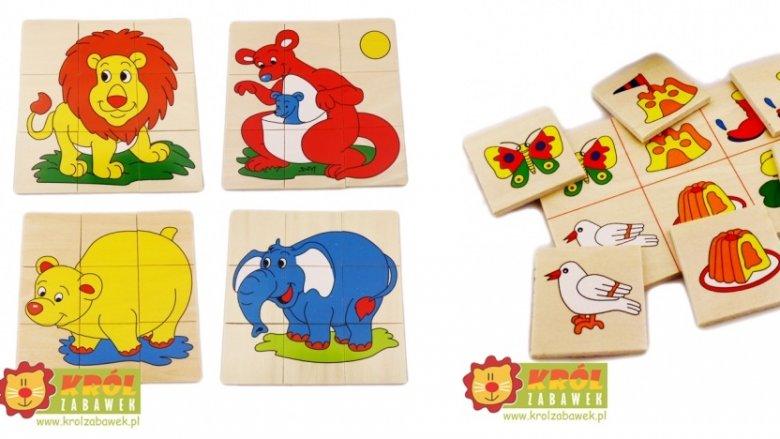 Do wygrania puzzle pociąg, zwierzęta oraz memory wykonane z drewna (fot. mat. Król Zabawek)