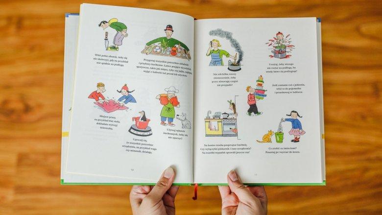 Zasady zachowania bezpieczeństwa w kuchni opatrzone są zabawnymi ilustracjami (fot. Ewelina Zielińska)