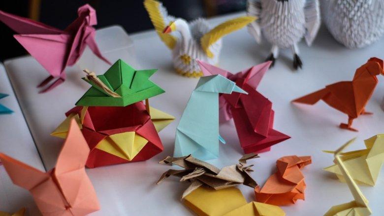 Gotowe prace uczestników warsztatów origami UŚD (fot. Justyna Dziwińska)