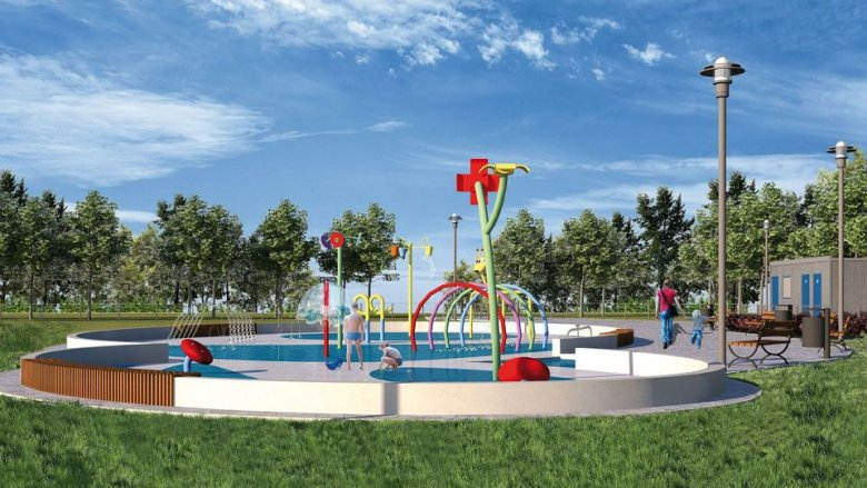 Wizualizacja wodnego placu zabaw w Katowicach (fot. UM Katowice)