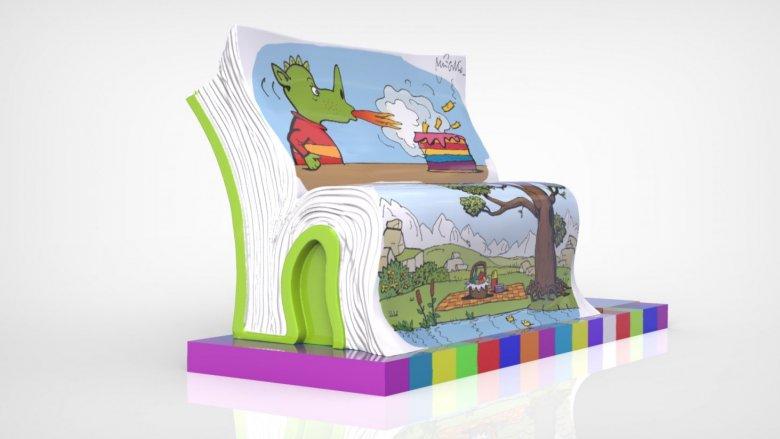 Kolorowe ławki stworzone we współpracy z lokalnymi artystami, można oglądać w katowickim Supersamie (fot. mat. organizatora)