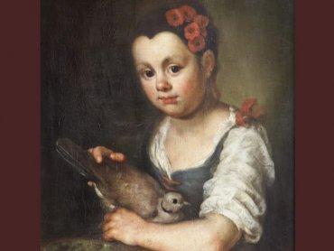 Dziewczynka z sierpówką, Johann Georg Ernst, 3. ćwierć XVIII wieku, Muzeum Piastów Śląskich w Brzegu (fot. Muzeum Piastów Śląskich w Brzegu)