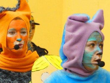 """""""Koty Trzy"""" to zabawny i kolorowy spektakl dla dzieci w wieku przedszkolnym (fot. mat. Teatr Gry i Ludzie)"""