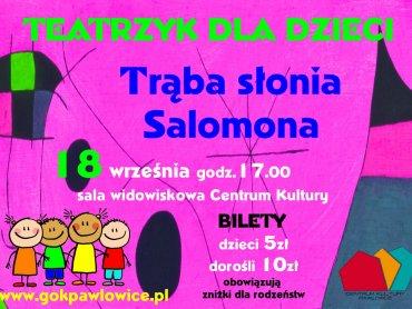 """Na spektakl pt. """"Trąba słonia Salomona"""" obowiązują zniżki dla rodzeństw (fot. mat. organizatora)"""
