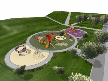 Wizualizacja nowego placu zabaw, który powstaje w Parku Hallera w Dąbrowie Górniczej (fot. materiały organizatora)