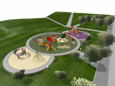 Wizualizacja nowego placu zabaw w dąbrowskim Parku Hallera (fot. materiały UM Dąbrowa Górnicza)