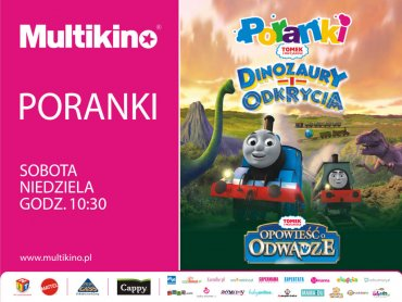 W maju dzieci będą mogły się spotkać w Multikinie z wesołymi lokomotywami oraz niesamowitymi dinozaurami (fot. mat. kina)