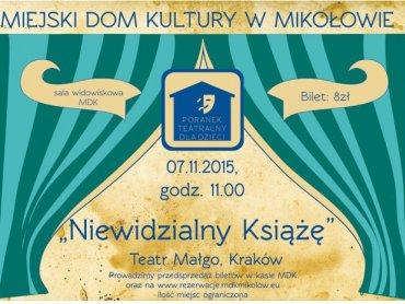"""""""Niewidzialny książę"""" to spektakl, który w sobotę można obejrzeć w MDK w Mikołowie (fot. mat. organizatora)"""