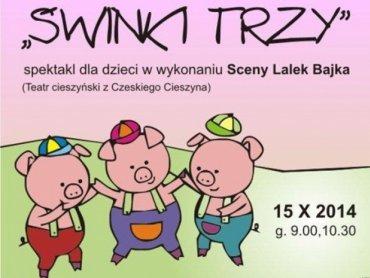 """Spektakl """"Świnki trzy"""" będzie można obejrzeć w Cieszyńskim Ośrodku Kultury (fot. materiały organizatora)"""