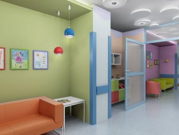 Wizualizacja powstającego w Górnośląskim Centrum Zdrowia Dziecka w Katowicach kącika dla dzieci i rodziców (fot. materiały prasowe)